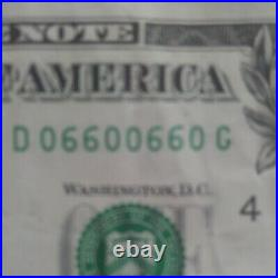 1 Dollar Bill Circulated Binary and Super Radar From 2013 Very Good condition