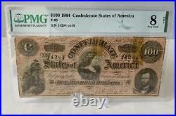 $100 1864 Confederate Currency Bank Note Richmond Va. Currency, PMG 8