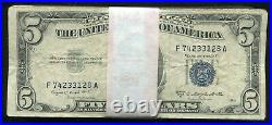 (100) 1953 $5 Five Dollars Blue Seal Silver Certificates Very Good-very Fine