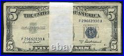 (100) 1953 $5 Five Dollars Blue Seal Silver Certificates Very Good-very Fine (b)