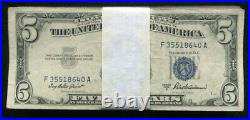 (100)1953 $5 Five Dollars Blue Seal Silver Certificates Very Good -very Fine (c)