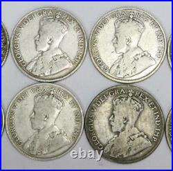 10x Canada 50 cents 1910 11 12 13 16 17 18 19 20 and 1929 good to very good