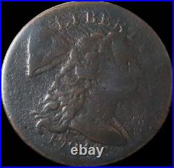 1794 United States Liberty Cap Flowing Hair Cent Coin Very Good Head Of 1794