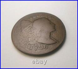 1796 Original Liberty Cap Large Cent Low Mintage! Chocolate Brown Very Good
