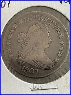 1807-P Draped Bust Silver Half Dollar 50c Very Good+