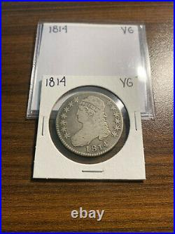 1814-P Capped Bust Silver Half Dollar 50C VERY GOOD (VG) Type 1, Lettered Edge