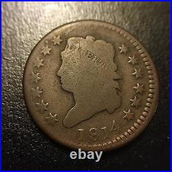 1814 Plain 4 Classic Head Turban Large Cent VG Very Good Variety Penny Coin EAC