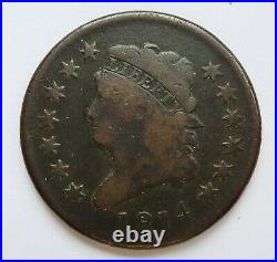 1814 U. S. Classic Head Large Cent Plain 4 Variety Very Good Condition