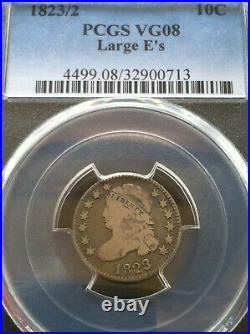1823/2 Capped Bust Dime 10c Large E's PCGS Very Good VG 8 Budget Friendly