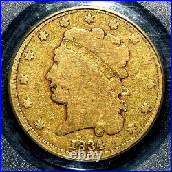 1834 $5 Gold Half Eagle Pcgs Vg-8 Cac Vg08 Classic Head Very Good Trusted