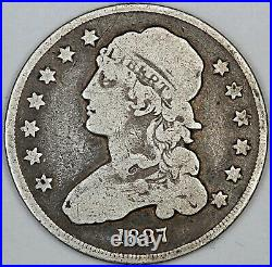 1837 United States Capped Bust Quarter VG Very Good Condition