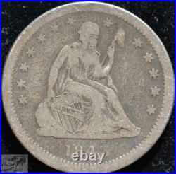 1843 O, Rare Date, Seated Liberty Quarter, Very Good+ Condition, Silver, C5189