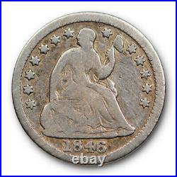 1846 H10C Seated Liberty Half Dime Very Good VG Key Date Low Mintage Tough