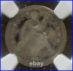 1846 H10C Seated Liberty Half Dime Very Rare Date NGC Good Details Damaged