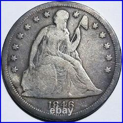 1846-o Seated Liberty Dollar Very Good+ Original Nice Coin
