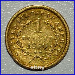 1850 $1 Gold Dollar Vg Very Good Details Edge Damage G$1 L@@k Now Trusted