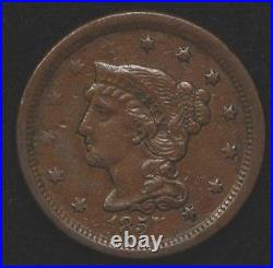 1857 Large Cent, Small Date, nice XF, good color, very scarce and underrated