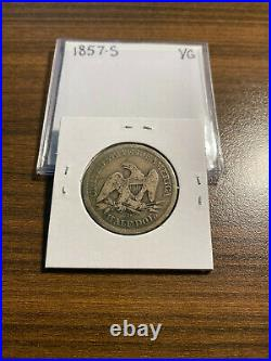 1857-S Seated Liberty Silver Half Dollar 50C VERY GOOD (VG) Type 2, No Motto