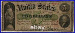 1862 $5 LEGAL TENDER NOTE FR. 61a CHITTENDEN SPINNER PMG VERY GOOD VG 10 (093)