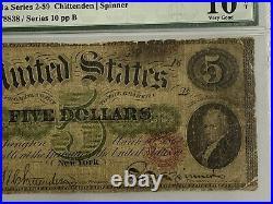 1862 $5 Legal Tender Fr#61a Series 2-59 PMG 10 VERY GOOD