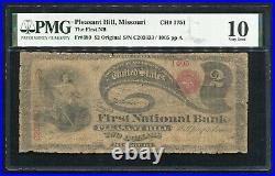 1865 $2 Lazy Deuce The First Nb Of Pleasant Hill, Mo Ch. #1751 Pmg Very Good-10