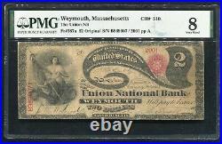 1865 $2 Lazy Deuce The Union Nb Of Weymouth, Ma Ch. #510 Pmg Very Good-8