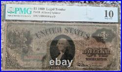 1869 $1 One Dollar Legal Tender Fr 18 PMG 10 Very Good Allison Spinner