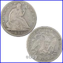 1871 CC Seated Liberty Half Dollar VG Very Good 90% Silver 50c US Type Coin