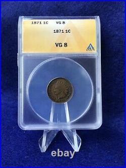 1871 INDIAN HEAD CENT 1c PENNY ANACS VG8 VERY GOOD SCARCE DATE COIN