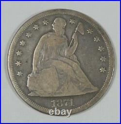 1871 Liberty Seated Dollar VERY GOOD Silver Dollar