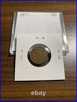 1871-P Indian Head Penny Cent 1C VERY GOOD (VG) Type 3, Bronze