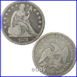 1871 Seated Liberty Dollar VG Very Good 90% Silver $1 US Type Coin Collectible