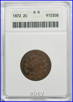 1872 2C Two Cent Piece ANACS G 6 Good to Very Good Key Date Old 1980's Holder