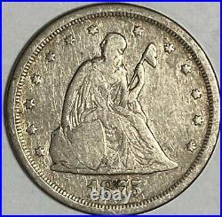 1875 S Very Good VG Seated Liberty US Silver Twenty Cent Piece 20C