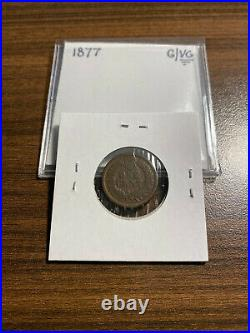 1877-P Indian Head Penny Cent 1C GOOD/VERY GOOD (G/VG) Type 3, Bronze KEY DATE