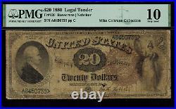 1880 $20 Legal Tender FR-139 Graded PMG 10 Very Good RARE
