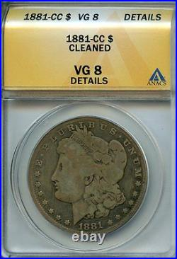 1881 CC $1 Anacs Vg8 Details (very Good) Morgan Silver Dollar