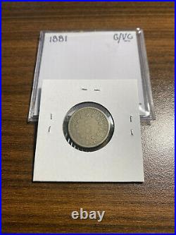 1881-P Shield Nickel 5C GOOD/VERY GOOD (G/VG) Type 2, No Rays KEY DATE