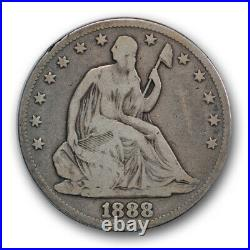 1888 50C Seated Liberty Half Dollar Very Good VG Key Date Low Mintage R358