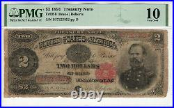 1891 $2 Treasury Note Currency Fr. 358 Bruce / Roberts Pmg Very Good Vg 10 (952)