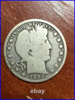 1892 S Barber Half Dollar Very Scarce Good Original Problem Free