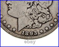 1893-CC $1 Silver Morgan Dollar in Very Good Condition, Full Strong Rims