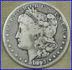 1893 CC Morgan Silver Dollar VG Very Good Rim Bump Great Coin for Album Set 169
