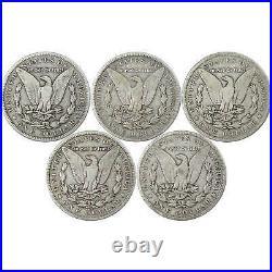 1896-1901 O Morgan Dollar 5 Coin Set VG Very Good 90% Silver $1 US with Album