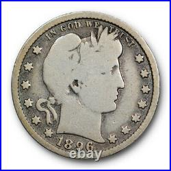 1896 S 25C Barber Quarter Very Good VG Full Rims Key Date San Francisco Mint