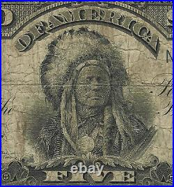 1899 $5 Fr. 281 PMG 10 Very Good SILVER CERTIFICATE CHIEF PROBLEMS FREE