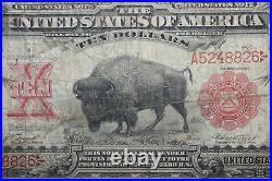 1901 $10 Legal Tender Currency Bison that Grades Fine (JENA-268)