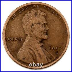 1909-S VDB 1C Lincoln Cent in Very Good+ VG+ Condition Brown Color