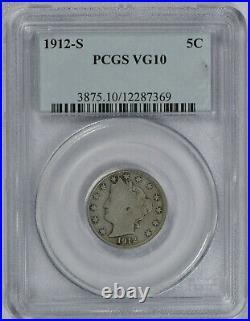 1912 S 5C Liberty V Nickel PCGS graded Very Good VG 10 Semi Key Date