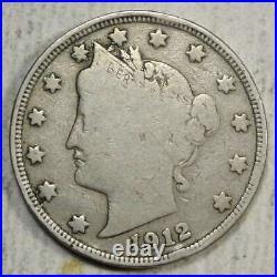 1912-S Liberty Nickel, Very Good to Fine, Key Date 0522-13